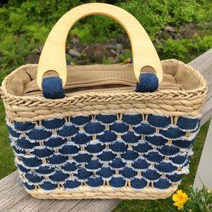 Handbags - Straw with denim weave handbag